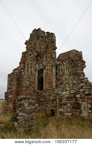 A view of the ruins of an old building near Elie
