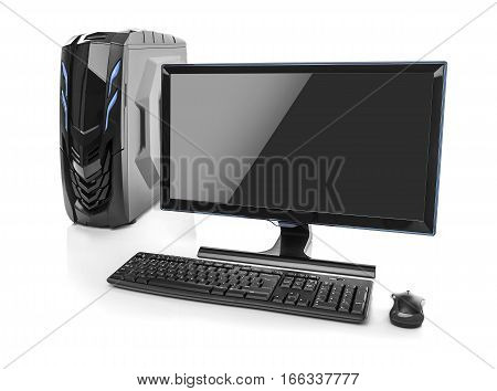 Desktop PC. Desktop computer isolated on a white background.