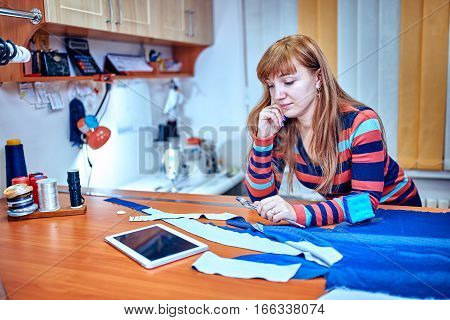 Fashion designer using tablet computer in studio