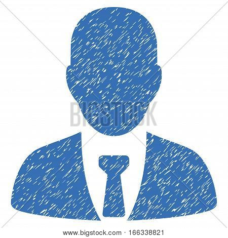 Businessman grainy textured icon for overlay watermark stamps. Flat symbol with unclean texture. Dotted vector blue ink rubber seal stamp with grunge design on a white background.