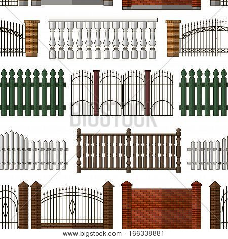 Set of gates and fences pattern. Collection of metal gates, wrought iron, lattice and wooden gates and fences for yard.
