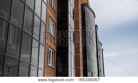 Apartment building, apartments, residential area, fragment of modern building, housing complex