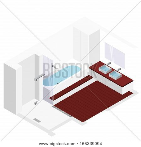 Modern bathroom with wooden floor in isometric perspective. Shower enclosure with sliding glass doors. Bathtub filled with water. Bathroom sinks with mirror. Vector sanitary washroom equipment.