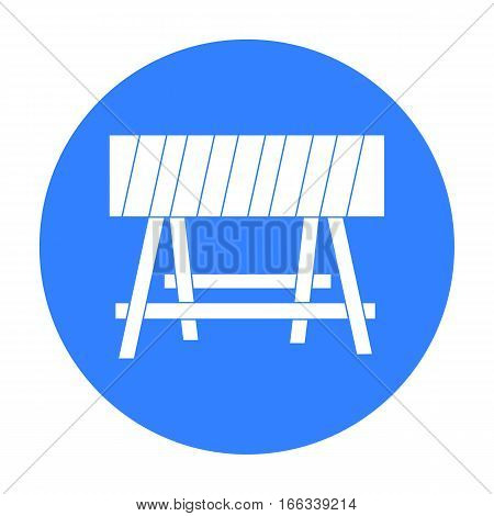 Construction barricade icon in blue style isolated on white background. Build and repair symbol vector illustration.