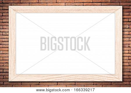 Whiteboard or Empty bulletin board with a wooden frame on brick wall background with copy space for text or image.