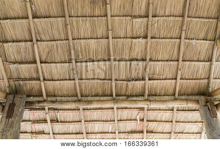 The pattern of the thatch roof inside the countryside cottage.