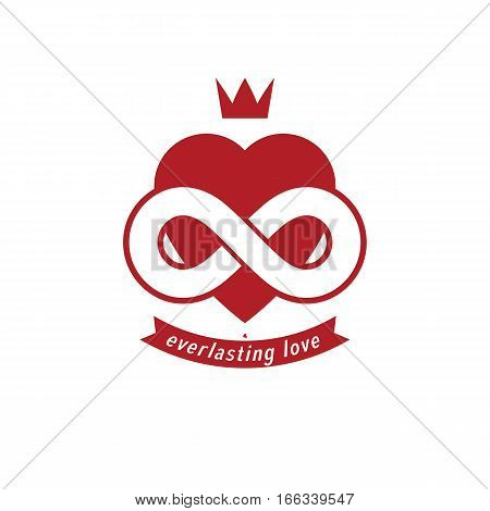 Eternal Love Conceptual Sign, Vector Symbol Created With Infinity Loop Sign And Heart.