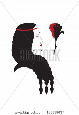 Girl profile head with rose image of Spaniard vector isolated.