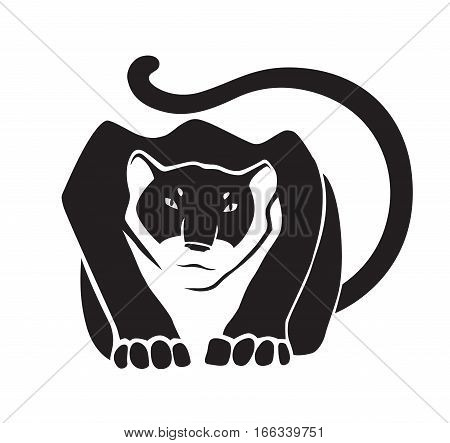 Black panther on white background. Wild animal as logo or mascot. Vector illustration.