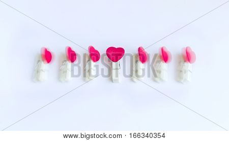 wooden clothes pin or cloth pegs with heart shape design(zooming technique)