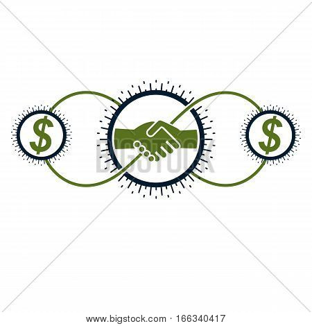Successful Business And Leader Creative Logo, Handshake Pact Sign, Vector Conceptual Symbol Isolated