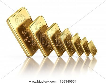 Small gold bars with different sizes on white reflective background - 3D illustration