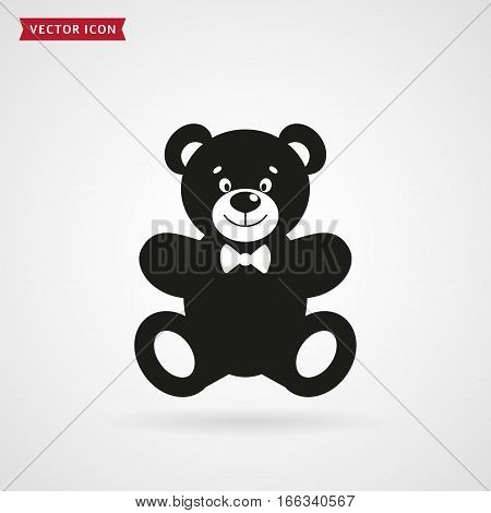 Teddy bear icon isolated on white background. Baby toy. Vector illustration.