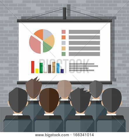 projector screen with financial report. Training staff, meeting, report, business school. vector illustration in flat style