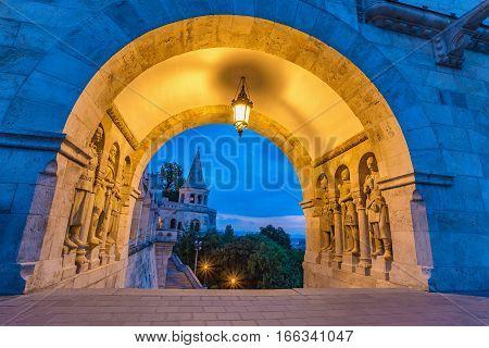 Halaszbastya Fisherman Bastion gate at night, Budapest, Hungary