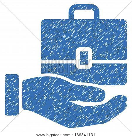 Hand Holding Case grainy textured icon for overlay watermark stamps. Flat symbol with scratched texture. Dotted vector blue ink rubber seal stamp with grunge design on a white background.