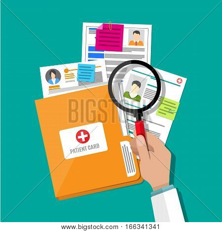 Folder with patient card and doctors hand with magnifying glass. medical report. analysis or prescription concept. vector illustration in flat style
