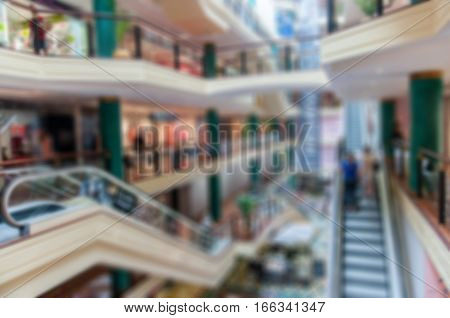 Blurred shopping mall background. Morden shopping mall
