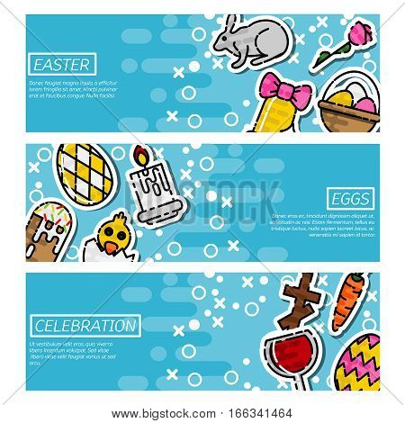 Happy Easter Horizontal Banners Set With Flat Sticker Icons. Vector Illustration. Easter Rabbit, Ornate Eggs. Hen and Cute Chicken. Spring Colorful Easter Concept. Season Greetings.