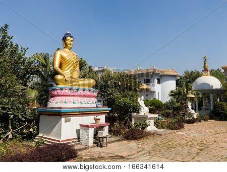 Gautami Nuns Temple buddha statue Lumbini Nepal