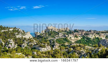 Les Baux de Provence village panoramic view. Provence Alpes Cote Azur France Europe.