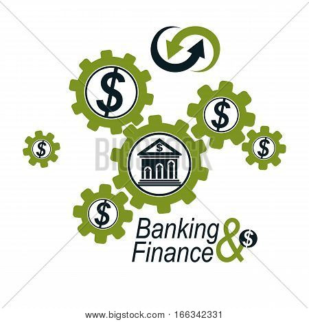 Banking And Finance Conceptual Logo, Unique Vector Symbol. Banking System. The Global Financial Syst