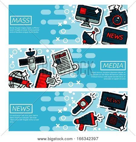 Social mass media banner horizontal set communication elements isolated vector illustration