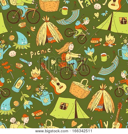 Vector seamless pattern with cute doodle family. Equipment for camping and eco-tourism, bicycles, tent, guitar, people, woman,  man and two children. Cartoon style. Dark green background.