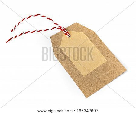 Small empty cardboard etiquette with some strings.