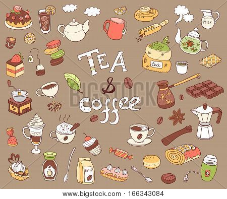 Big vector collection of doodle tea and coffee. Equipment and dessert, spoon, sweets, cake, cup, teapot, bakery and cookery. Color.
