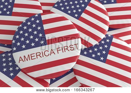 US Politics Badges: Pile of America First Slogan Buttons 3d illustration