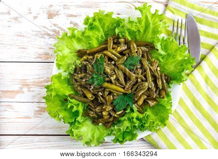 Stewed French Beans. Healthy Food And Vegetarian Concept