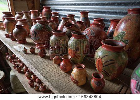 pottery closeup at roadside vendor in Costa RIca