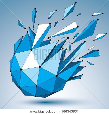 3D Vector Digital Wireframe Object Broken Into Different Particles And Fractures, Blue Geometric Pol