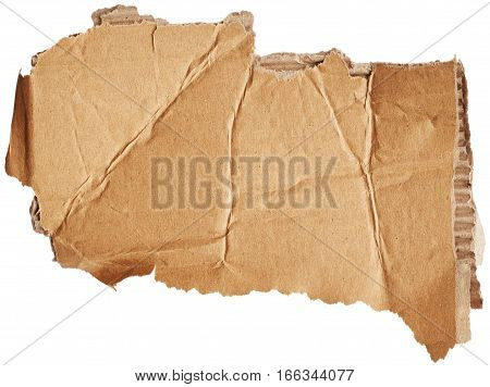 Piece of cardboard isolated on white background