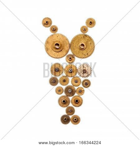 Steampunk owl on white background. Mechanical ornament style object macro view. Vintage clockwork cogwheels. Gold bronze and silver shabby surface.