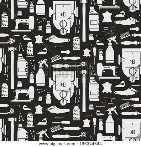 Vector seamless pattern of furrier's tools. Print on black background. For website construction mobile applications banners corporate brochures layouts