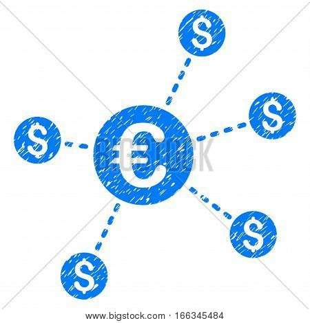 Currency Network Nodes grainy textured icon for overlay watermark stamps. Flat symbol with scratched texture. Dotted vector blue ink rubber seal stamp with grunge design on a white background.