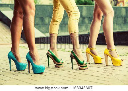 fashion high heels shoes on sexy women legs