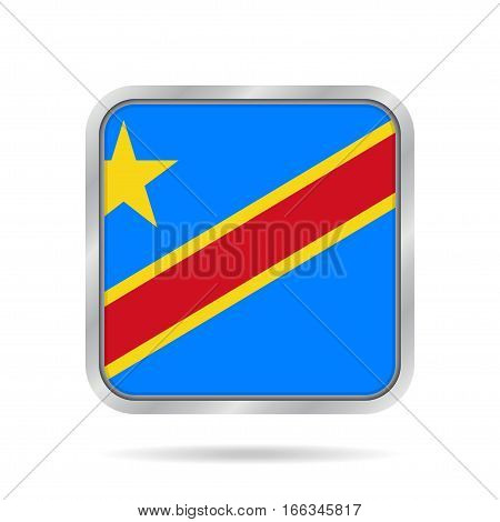 National flag Democratic Republic of the Congo. Shiny metallic gray square button with shadow.