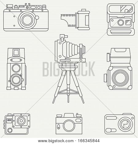 Line flat vector icon set with retro analog film cameras. Photography and art. Reflex 35mm photocamera. Cartoon style. Illustration, element for your design. Photographic lens. Simple. Monochrome.