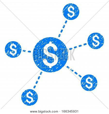 Dollar Network Nodes grainy textured icon for overlay watermark stamps. Flat symbol with dust texture. Dotted vector blue ink rubber seal stamp with grunge design on a white background.