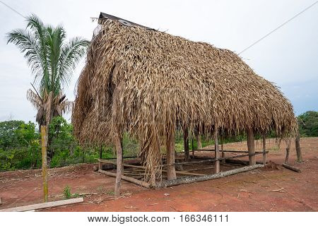 simple banana leaf roof shack in Panama