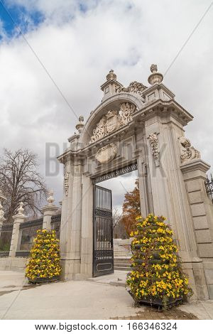 MADRID - February 22, 2014: Entrance gate in Retiro park Madrid