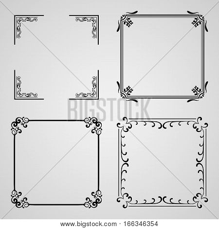 Caligraphic frames, vector set. Template for design