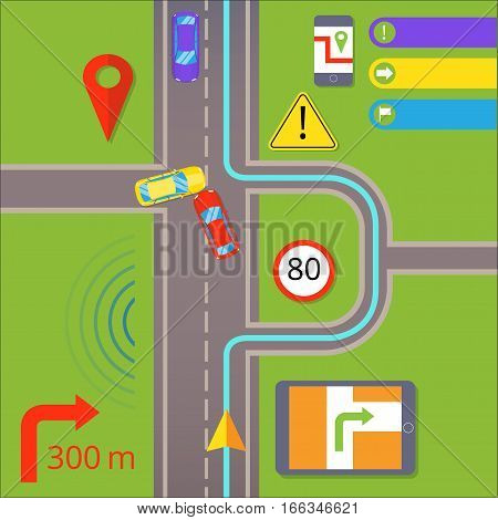 Car navigation. GPS navigation concept. Warning about the accident on the road and the path of the detour