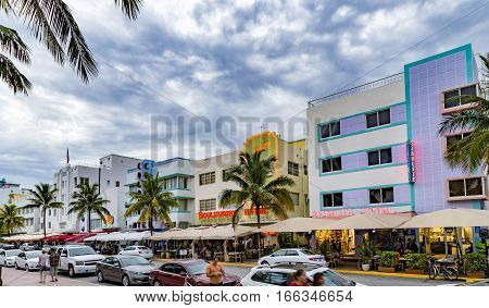 View At Ocean Drive  In Miami In The Art Deco District