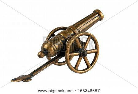 Antique bronze miniature cannon isolated on white backgrounds