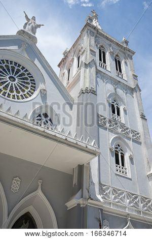 carthedral facade closeup details in Colon Panama