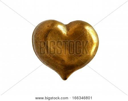 Antique bronze figurine heart isolated on white background
